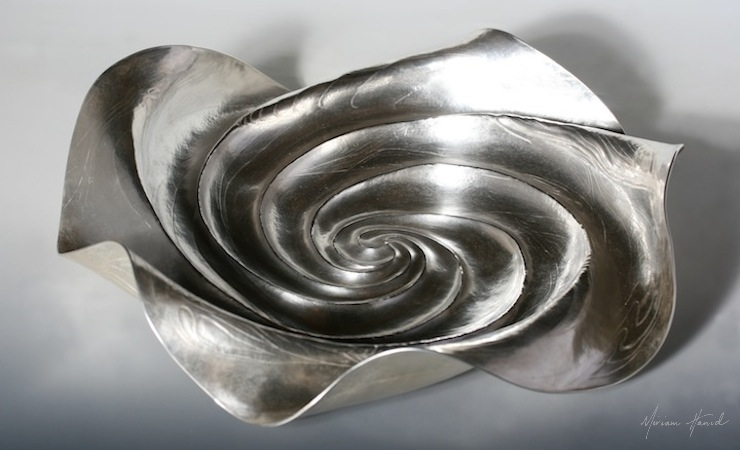 Whirlpool Rosewater Bowl, fine silver, 40 x 40 x 8cm